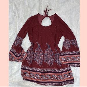 Super cute Boho dress with open upper back detail
